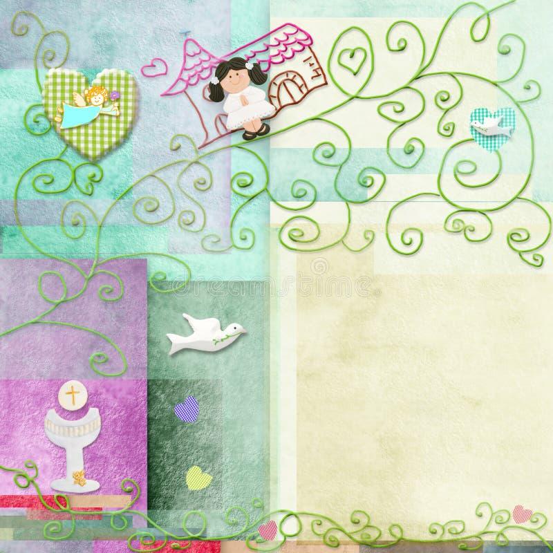 Tarjeta de la comunión santa de la muchacha del pelo de Brown primera stock de ilustración
