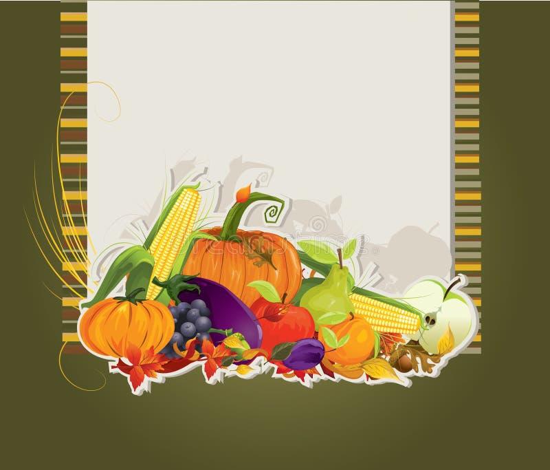 Tarjeta de la cosecha stock de ilustración