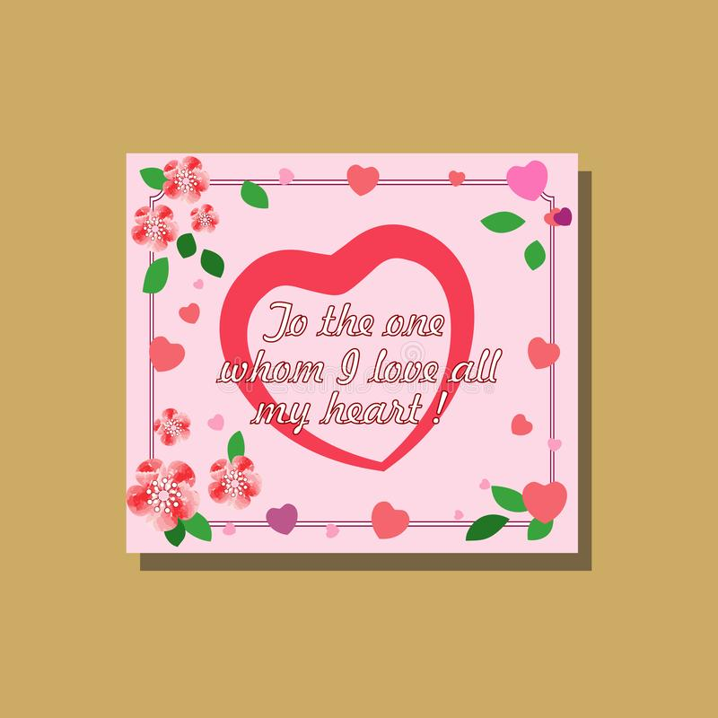 Tarjeta de la tarjeta del día de San Valentín con las flores rosadas de la acuarela y los corazones multicolores, en un pálido -  libre illustration
