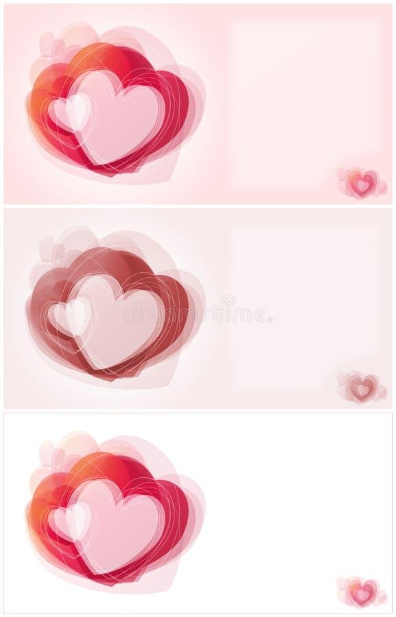 Tarjeta de la tarjeta del día de San Valentín con los corazones imágenes de archivo libres de regalías