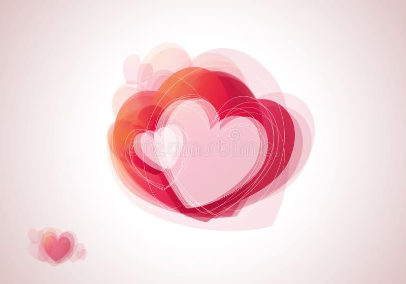Tarjeta de la tarjeta del día de San Valentín con los corazones imagenes de archivo