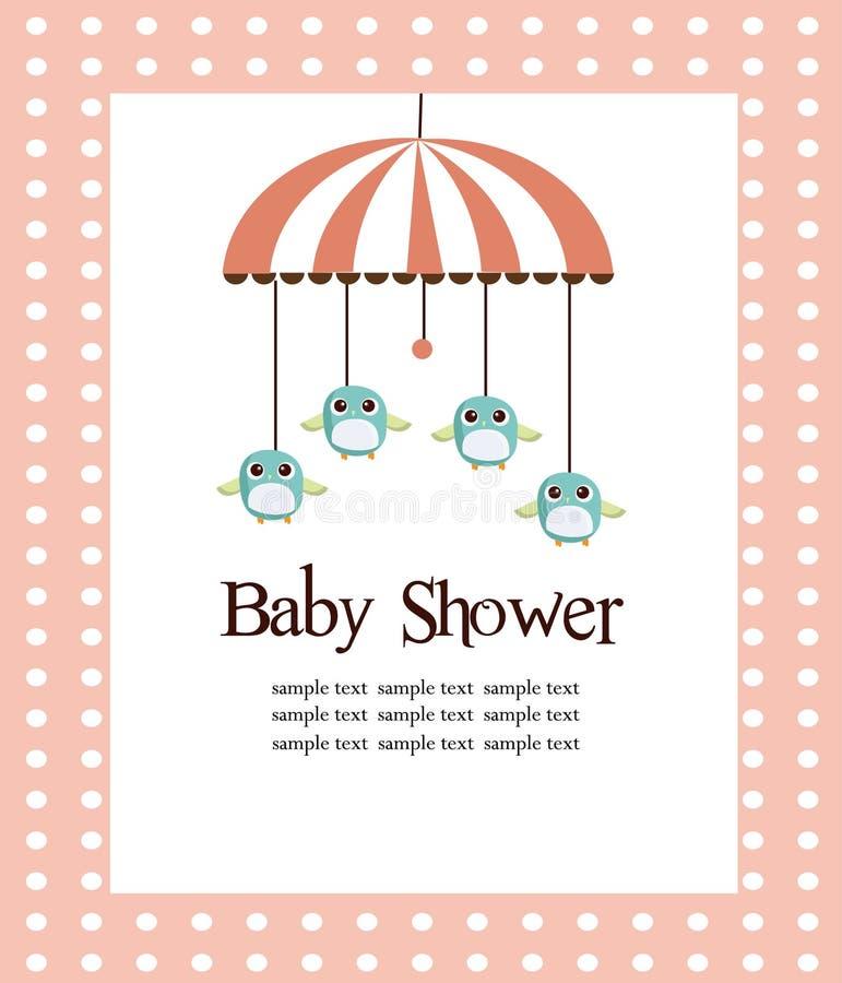 Tarjeta de la ducha de bebé para las muchachas stock de ilustración