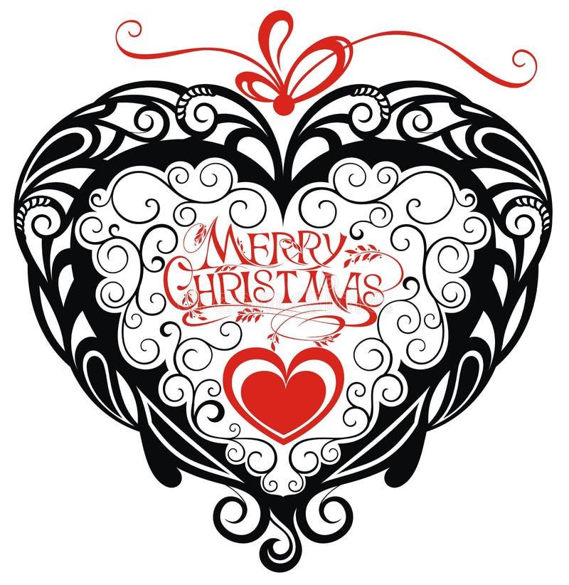 Tarjeta de la enhorabuena de la Feliz Navidad con el corazón stock de ilustración