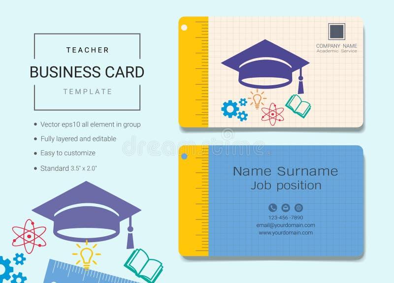 Tarjeta de la enseñanza o plantilla de la tarjeta de presentación stock de ilustración
