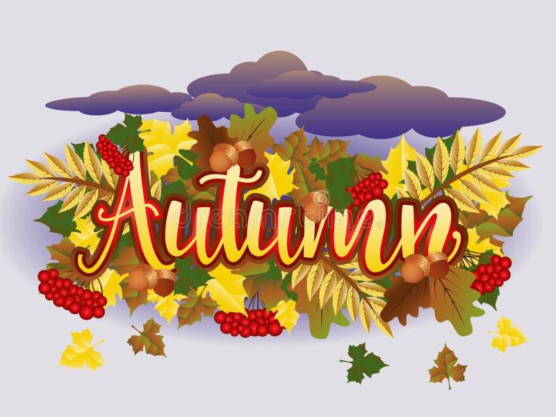 Tarjeta de la estación del tiempo del otoño, vector stock de ilustración