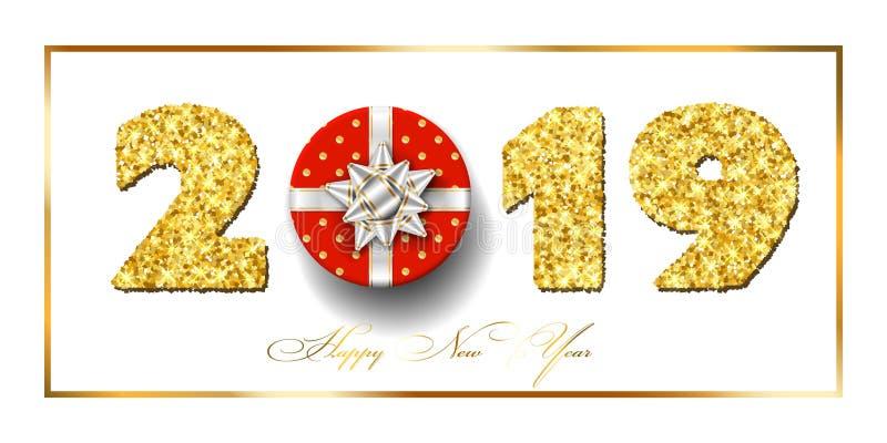 Tarjeta de la Feliz Año Nuevo la caja de regalo 3D, arco de la cinta, oro número 2019 del marco aisló el fondo blanco La Navidad  stock de ilustración