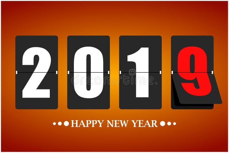 Tarjeta de la Feliz Año Nuevo 2019 Calendario mecánico en el movimiento Ilustración del vector libre illustration