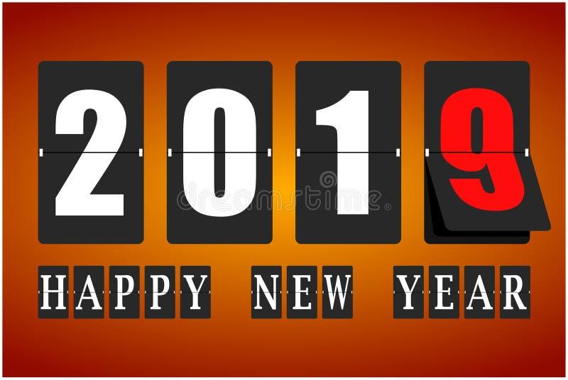 Tarjeta de la Feliz Año Nuevo 2019 Calendario mecánico en el movimiento Ilustración del vector stock de ilustración