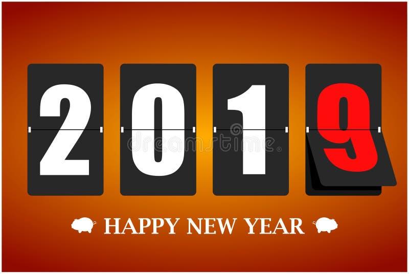 Tarjeta de la Feliz Año Nuevo 2019 Calendario mecánico en el movimiento Ilustración del vector ilustración del vector