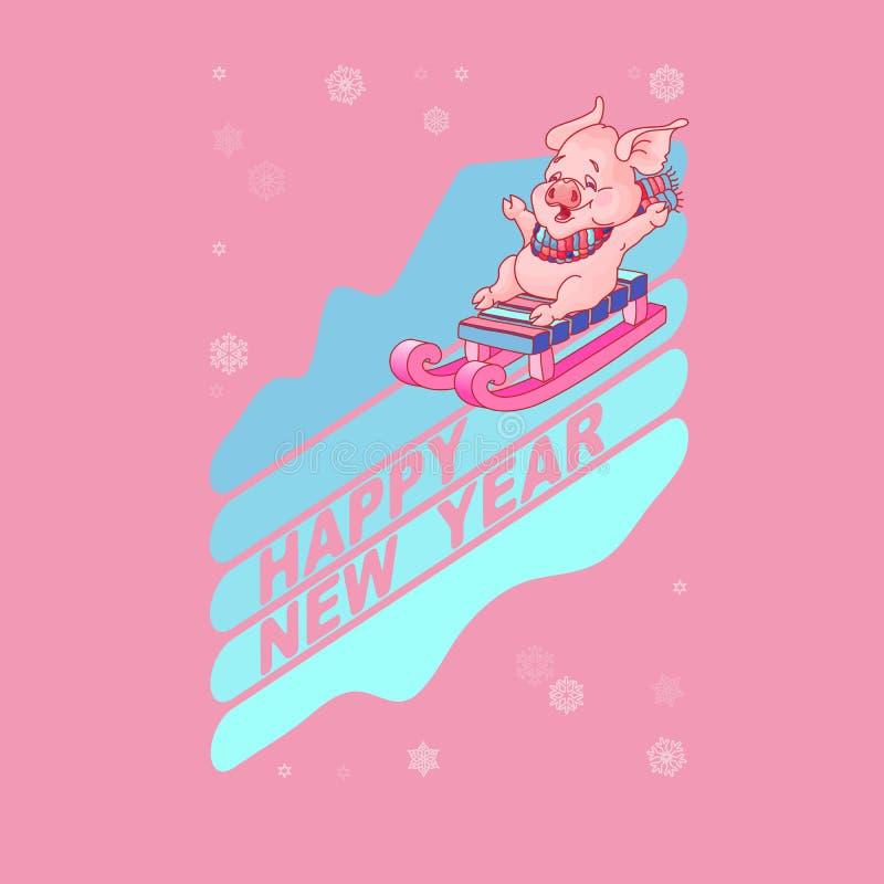 Tarjeta de la Feliz Año Nuevo Cerdo lindo en vector del trineo stock de ilustración