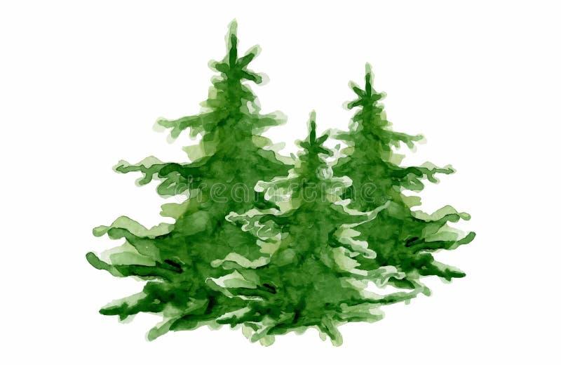 Tarjeta de la Feliz Año Nuevo de la colección de los árboles de la acuarela de la Feliz Navidad, carteles fotografía de archivo libre de regalías