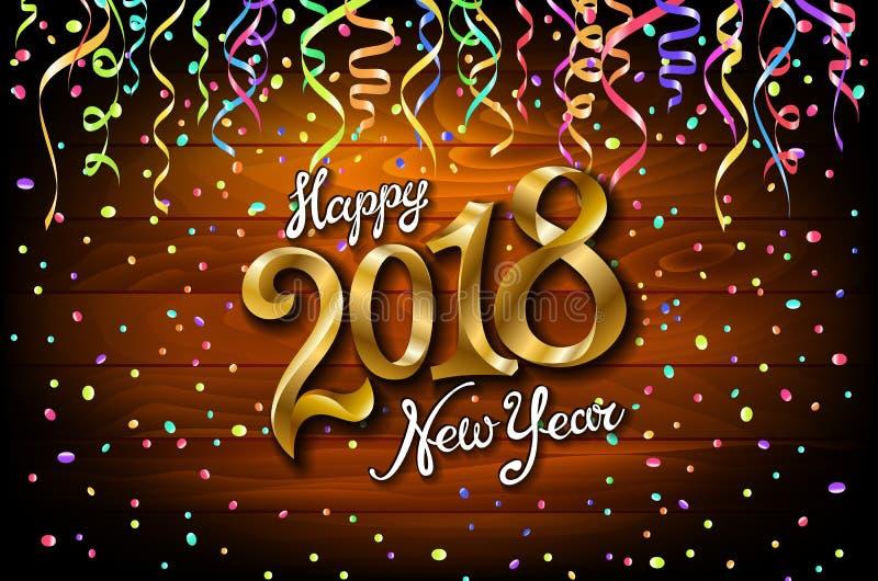 Tarjeta de la Feliz Año Nuevo 2018 con confeti del color de la Navidad y serpentina en el fondo de madera Diseño del texto del or libre illustration