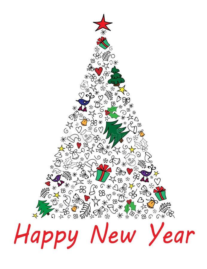 Tarjeta de la Feliz Año Nuevo con el árbol de navidad multicolor Ilustración del vector stock de ilustración