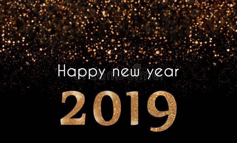 Tarjeta de la Feliz Año Nuevo 2019 con el brillo de oro, chispeante que baja 2019 números fotografía de archivo libre de regalías