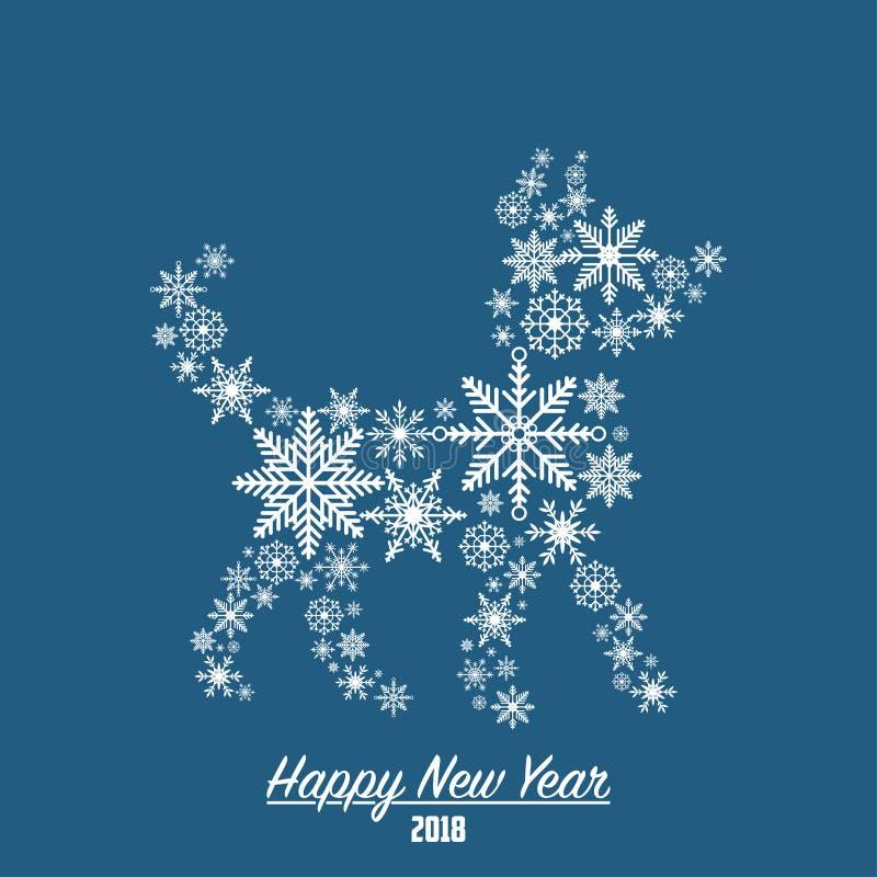 Tarjeta de la Feliz Año Nuevo 2018 con el perro hecho de los copos de nieve Vector libre illustration
