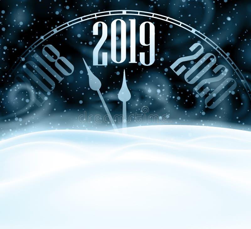 Tarjeta de la Feliz Año Nuevo 2019 con el reloj, la nieve y la ventisca stock de ilustración