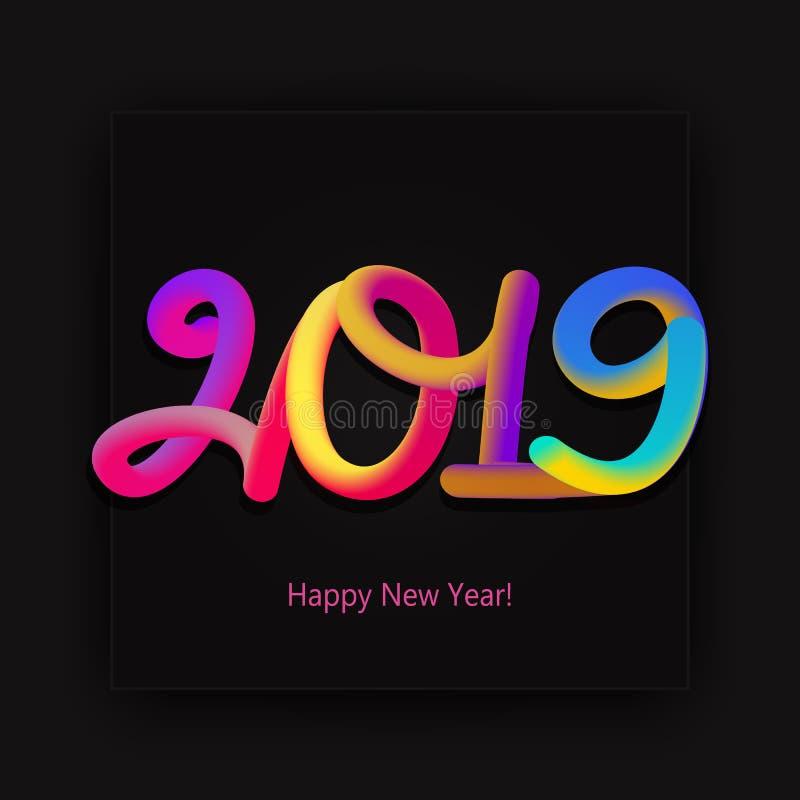 Tarjeta de la Feliz Año Nuevo 2019 con las figuras de neón coloridas en el CCB negro stock de ilustración