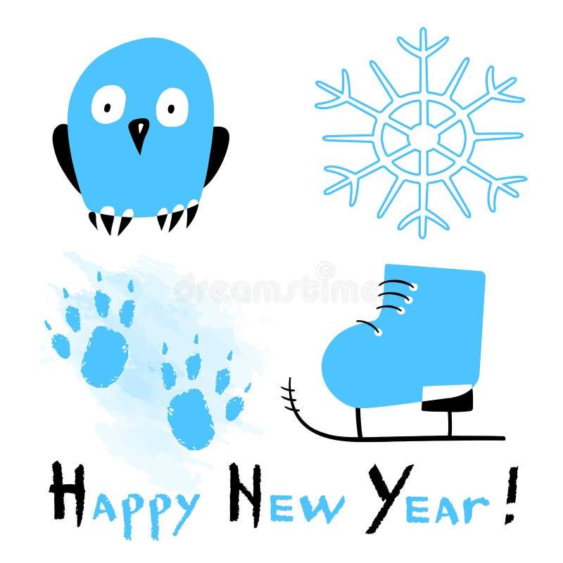 Tarjeta de la Feliz Año Nuevo con las huellas patinadoras estilizadas de los zapatos, del búho, del copo de nieve y del perro en  libre illustration
