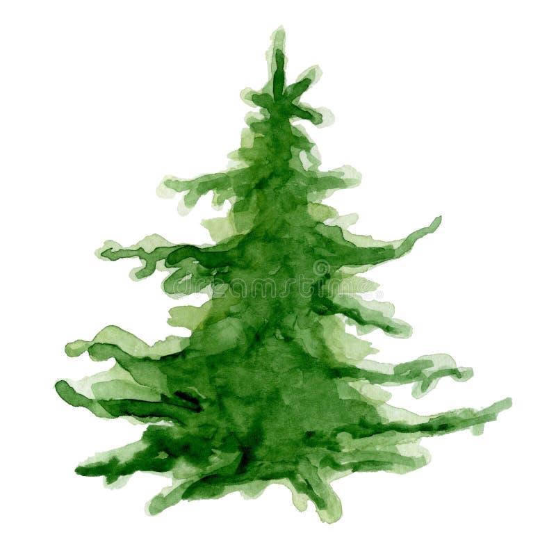 Tarjeta de la Feliz Año Nuevo del árbol de la acuarela de la Feliz Navidad, carteles fotografía de archivo libre de regalías