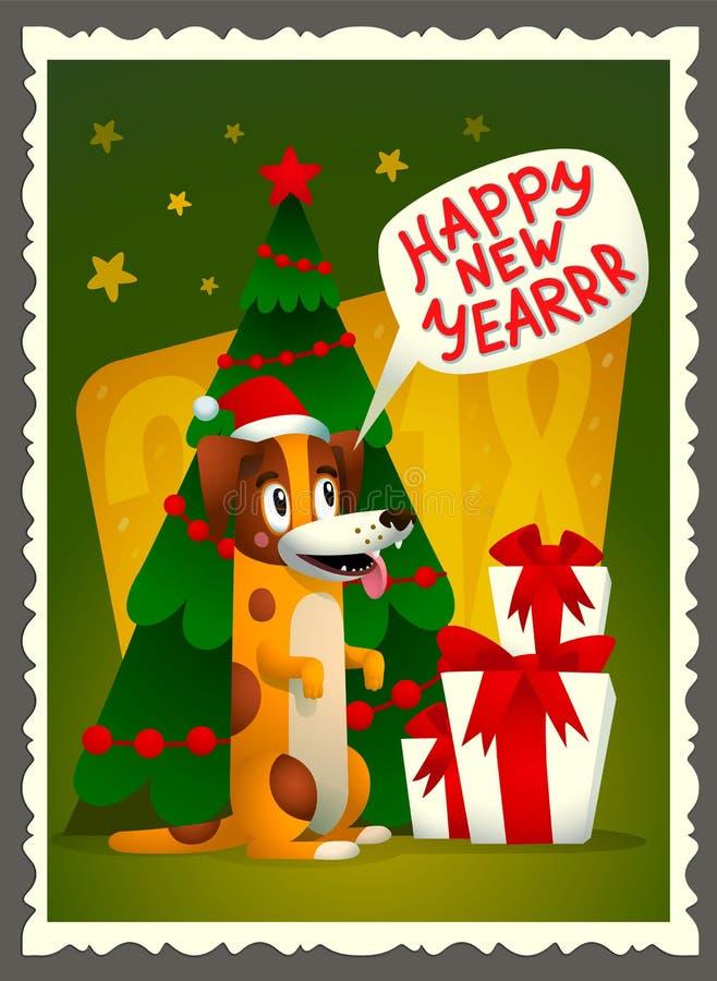 Tarjeta de la Feliz Año Nuevo del vector Tarjeta de felicitación retra del estilo con el perro, los regalos de vacaciones y la in libre illustration
