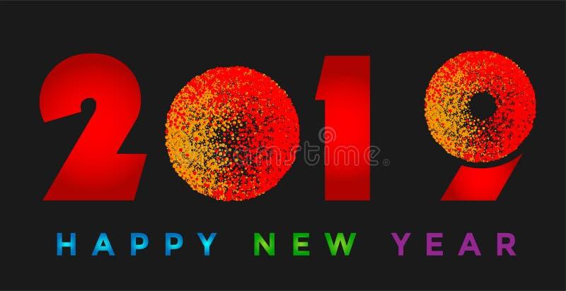 Tarjeta de la Feliz Año Nuevo 2019 e icono de saludo colorido del diseño del texto en fondo negro ilustración del vector