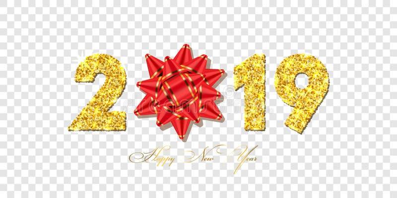 Tarjeta de la Feliz Año Nuevo el arco rojo de la cinta del regalo 3D, oro número 2019 aisló el fondo transparente blanco Textura  stock de ilustración