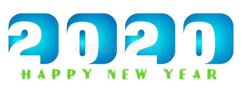 Tarjeta de la Feliz Año Nuevo 2020 en diseño de saludo azul del texto en coloreado en el fondo blanco ilustración del vector