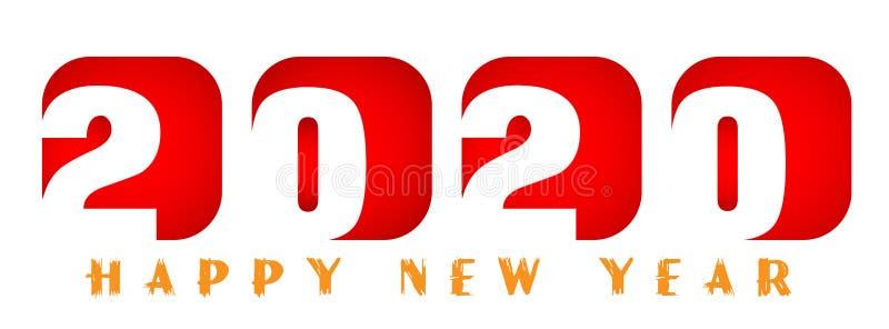 Tarjeta de la Feliz Año Nuevo 2020 en diseño de saludo rojo del texto en coloreado en el fondo blanco ilustración del vector