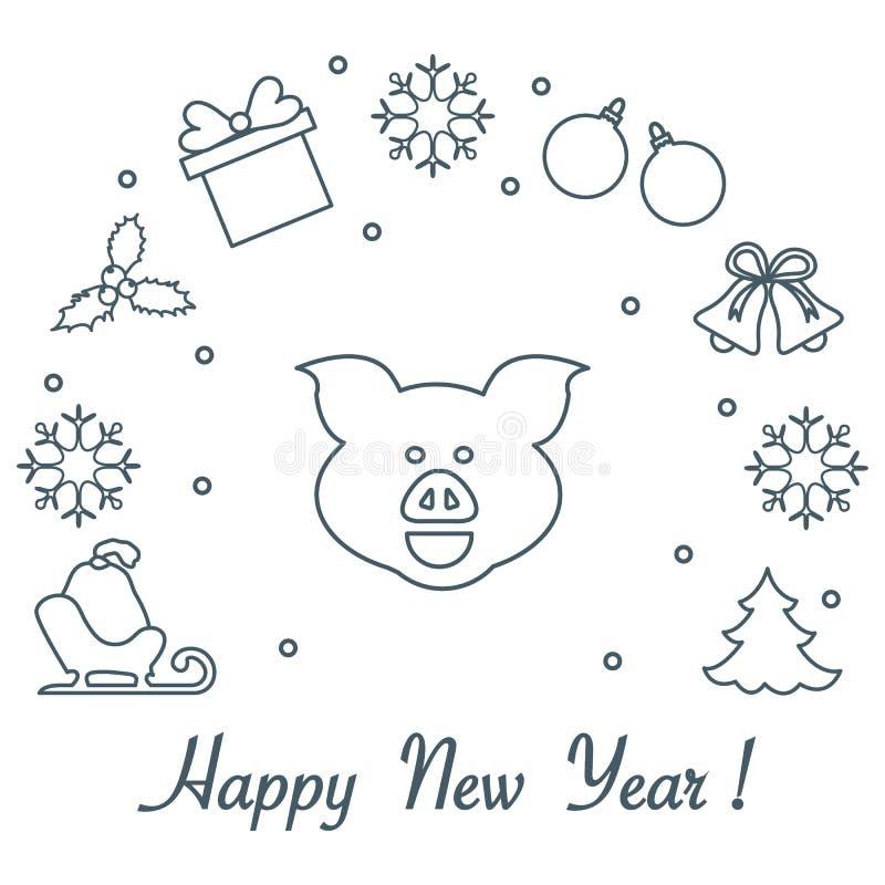 Tarjeta de la Feliz Año Nuevo 2019 Ilustración del vector stock de ilustración