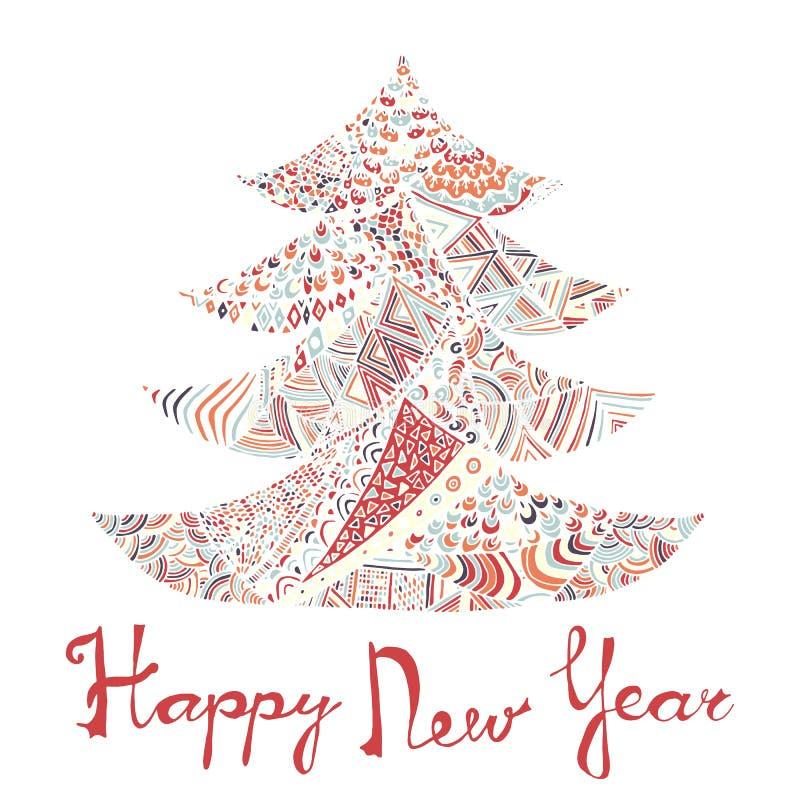 Tarjeta de la Feliz Año Nuevo y de la Feliz Navidad stock de ilustración