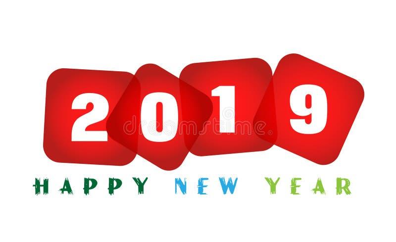 Tarjeta de la Feliz Año Nuevo 2019 y saludo del icono del diseño del texto en el fondo blanco ilustración del vector