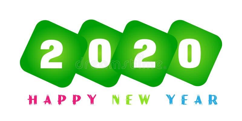Tarjeta de la Feliz Año Nuevo 2020 y texto de saludo colorido en diseño en verde coloreados en el fondo blanco ilustración del vector