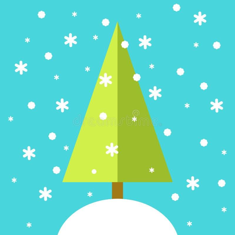Tarjeta de la Feliz Navidad, árbol de navidad, diseño plano ilustración del vector