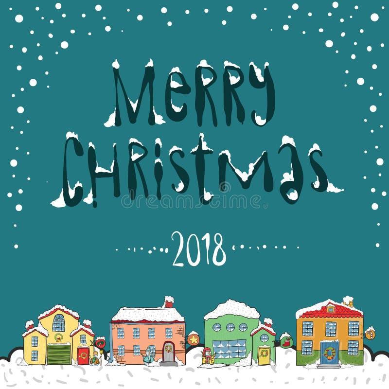 Tarjeta de la Feliz Navidad 2018 ilustración del vector