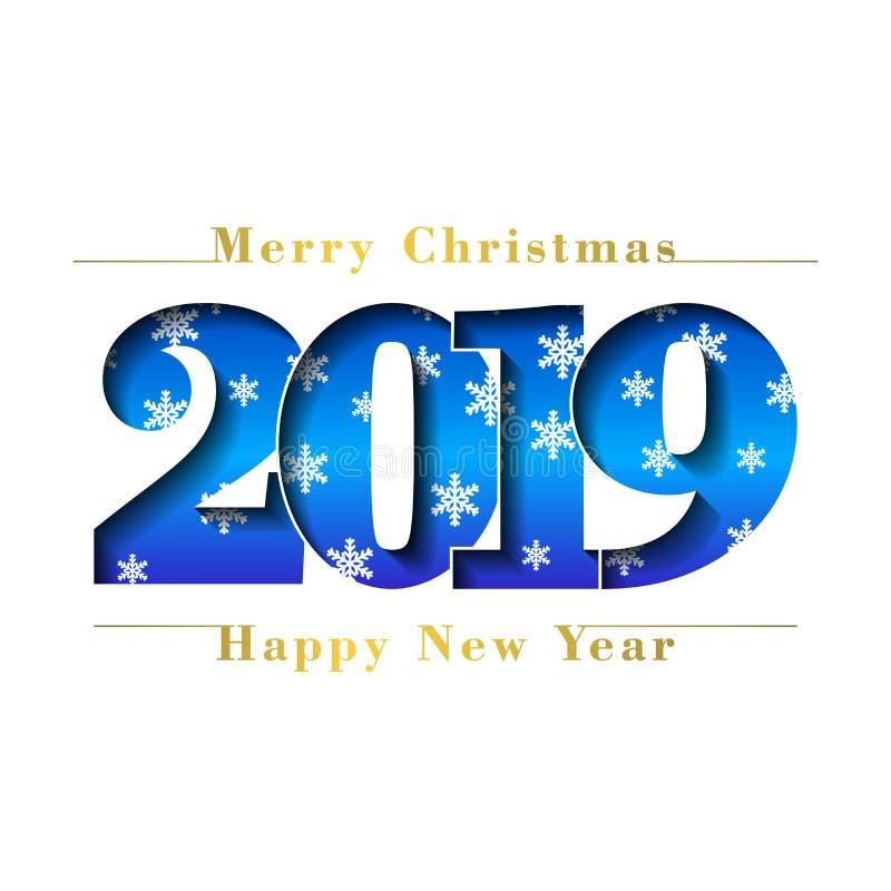 Tarjeta de la Feliz Navidad de la Feliz Año Nuevo Número azul 2019 con los copos de nieve, fondo blanco aislado Textura del oro b ilustración del vector