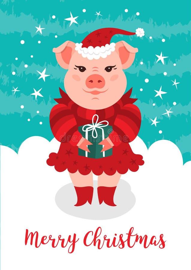 Tarjeta de la Feliz Navidad, cerdo divertido de la Navidad Un cerdo de la historieta en un sombrero rojo de Santa Claus sostiene  libre illustration