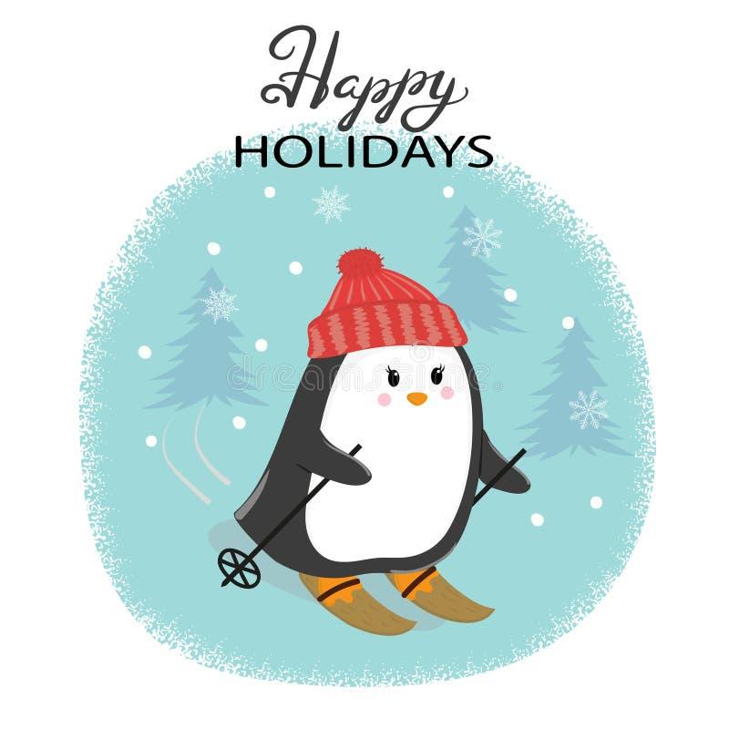 Tarjeta de la Feliz Navidad con el pingüino lindo del esquí stock de ilustración
