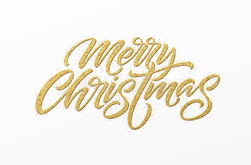 Tarjeta de la Feliz Navidad con las letras de oro del brillo Dé el texto exhausto, caligrafía para su diseño Ilustración del vect libre illustration