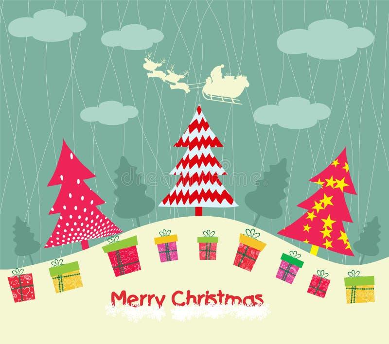 Tarjeta de la Feliz Navidad con los árboles de navidad y el regalo ilustración del vector