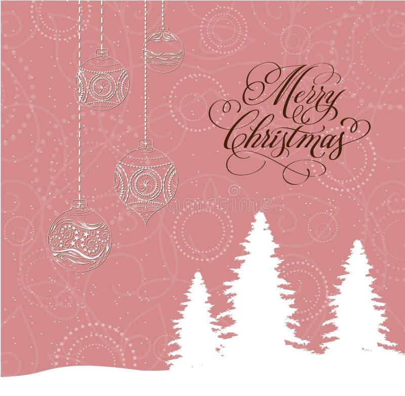 Tarjeta de la Feliz Navidad con los árboles de navidad y las bolas ilustración del vector