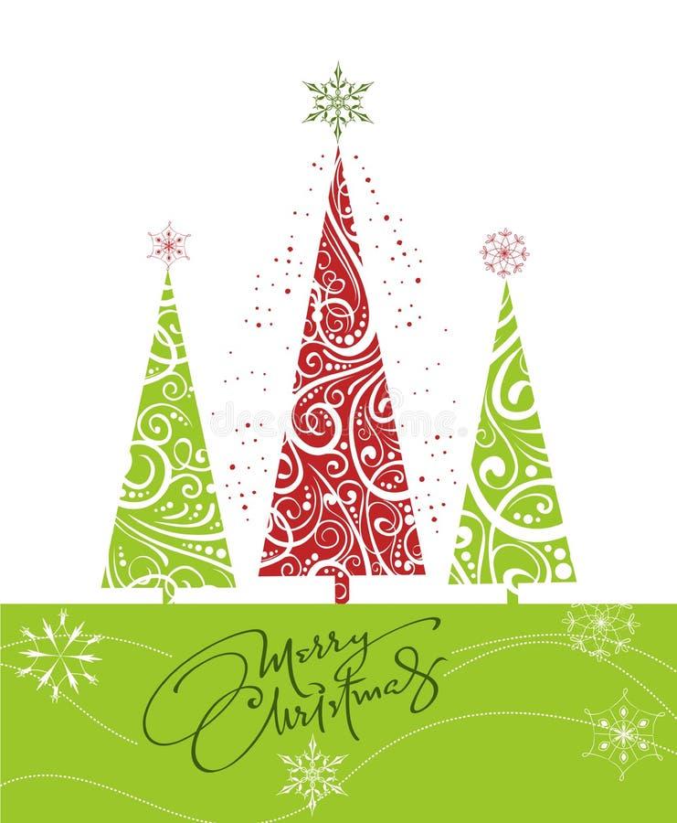 Tarjeta de la Feliz Navidad con los árboles de navidad y los copos de nieve ilustración del vector