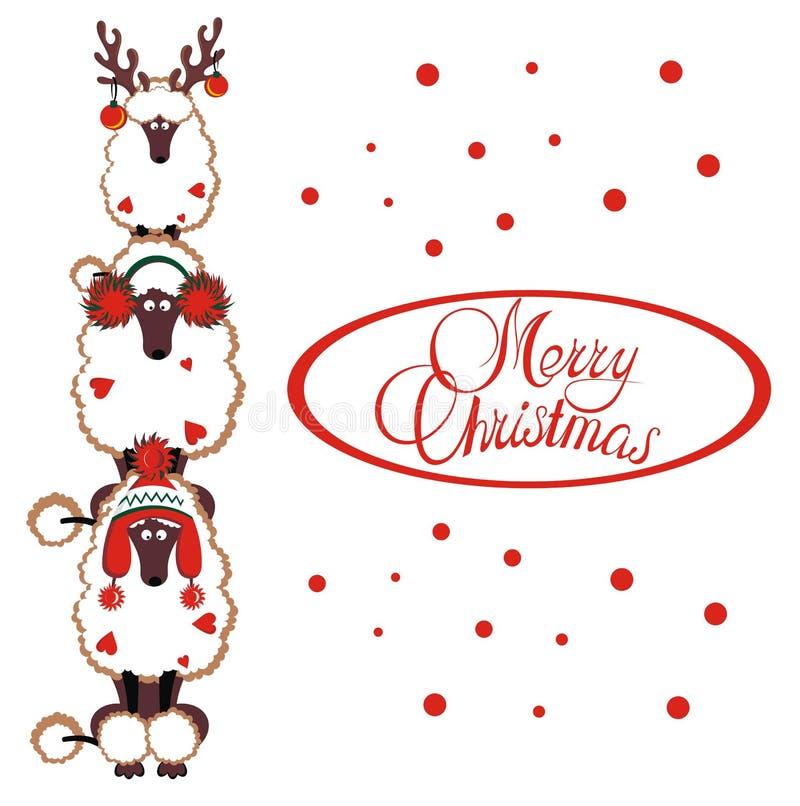 Tarjeta de la Feliz Navidad con los caniches divertidos libre illustration