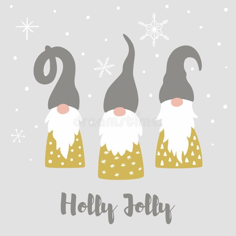 Tarjeta de la Feliz Navidad con los gnomos escandinavos lindos, los copos de nieve y el texto Holly Jolly stock de ilustración