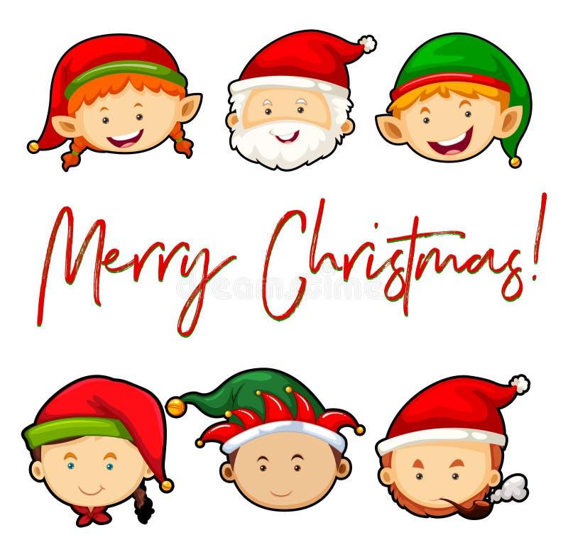 Tarjeta de la Feliz Navidad con Papá Noel y los duendes stock de ilustración