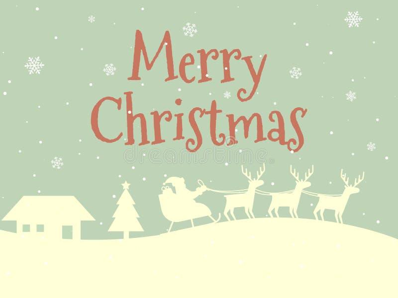 Tarjeta de la Feliz Navidad Concepto retro del estilo Diseño de la Feliz Año Nuevo Paisaje y Santa Claus del invierno Casa y árbo ilustración del vector