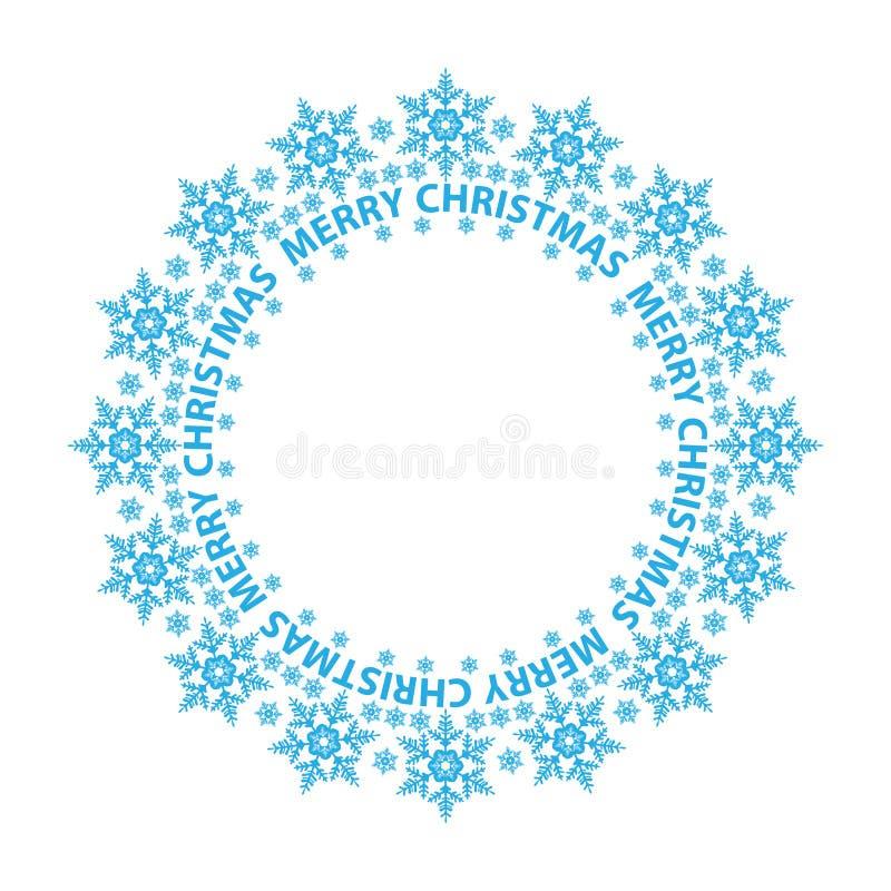 Tarjeta de la Feliz Navidad, copos de nieve azules en un círculo libre illustration