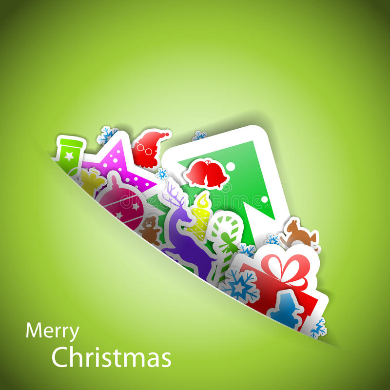 Tarjeta de la Feliz Navidad de las etiquetas engomadas libre illustration