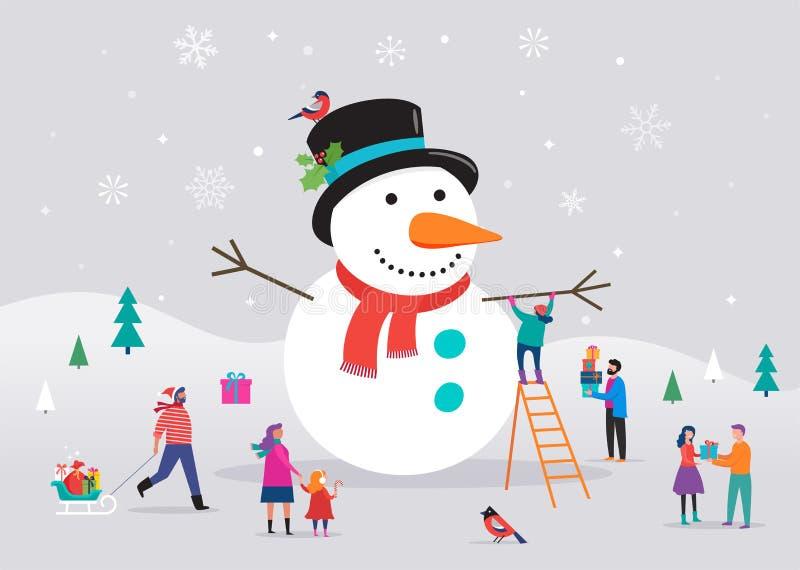 Tarjeta de la Feliz Navidad, fondo, bannner con el muñeco de nieve enorme y la pequeña gente, hombres jovenes y mujeres, familias libre illustration