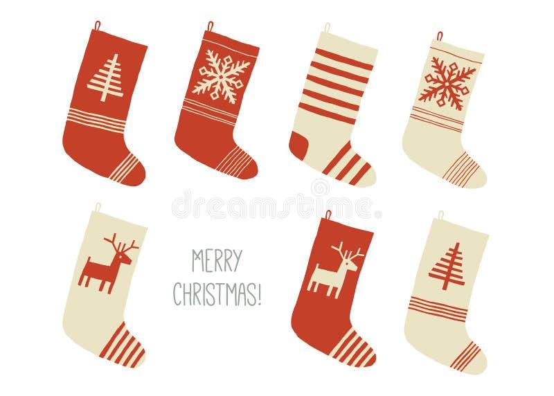 Tarjeta de la Feliz Navidad Medias de la Navidad Colección de las medias o de los calcetines del día de fiesta de la Navidad Vect ilustración del vector
