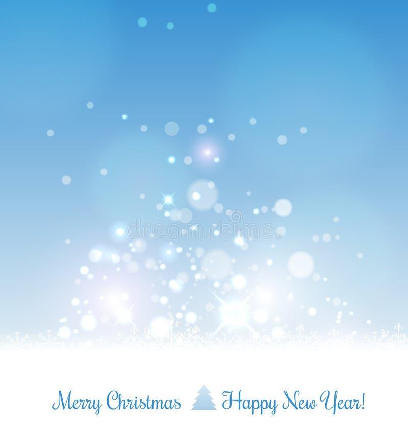 Tarjeta de la Feliz Navidad por Navidad y Feliz Año Nuevo Fondo con los copos de nieve y la luz Vector libre illustration